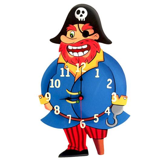 Tiko-dekorace | Dětské dřevěné nástěnné hodiny s motivem piráta s tichým chodem, ručně malované, na jednu tužkovou baterii, česká kvalita a ruční práce.