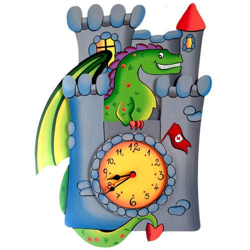 Dětské malované hodiny Drak