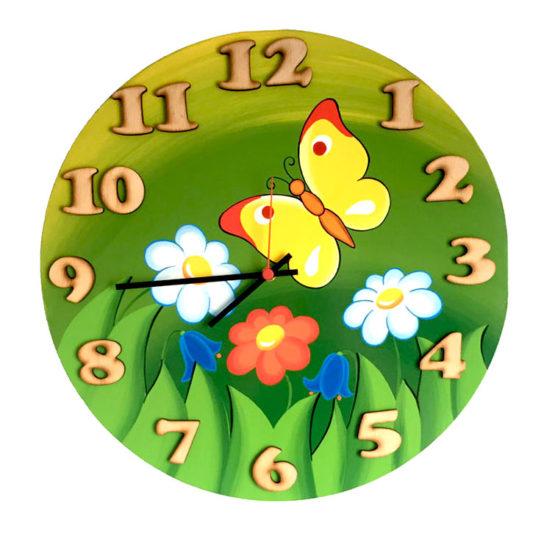Tiko-dekorace | Dřevěné nástěnné hodiny s jarním motivem s tichým chodem, ručně malované, na jednu tužkovou baterii, česká kvalita a ruční práce.
