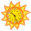 Tiko-dekorace | Nástěnné dřevěné dětské hodiny ze dřeva s motivem sluníčka