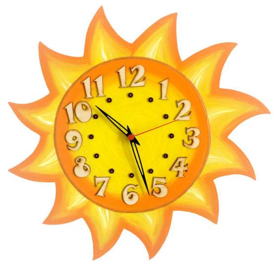 Tiko-dekorace   Nástěnné dřevěné dětské hodiny ze dřeva s motivem sluníčka
