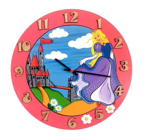 Tiko-dekorace | Dětské dřevěné nástěnné hodiny pro holky princezna s tichým chodem, ručně malované, česká kvalita a ruční práce.