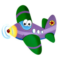 Dětská dekorace Letadlo Felix – fialové
