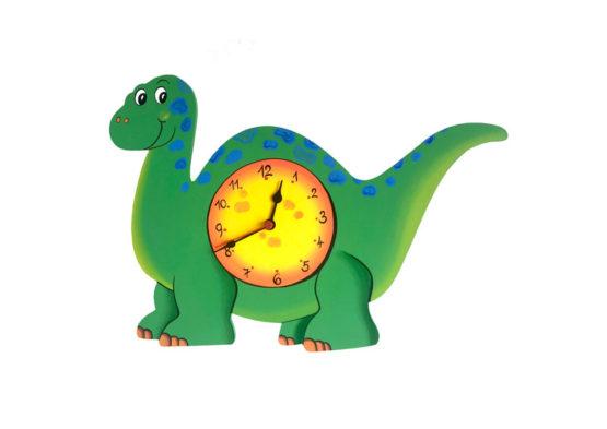 Tiko-dekorace | Dětské dřevěné nástěnné hodiny s motivem dinosaura s tichým chodem, ručně malované, na jednu tužkovou baterii, česká kvalita a ruční práce.