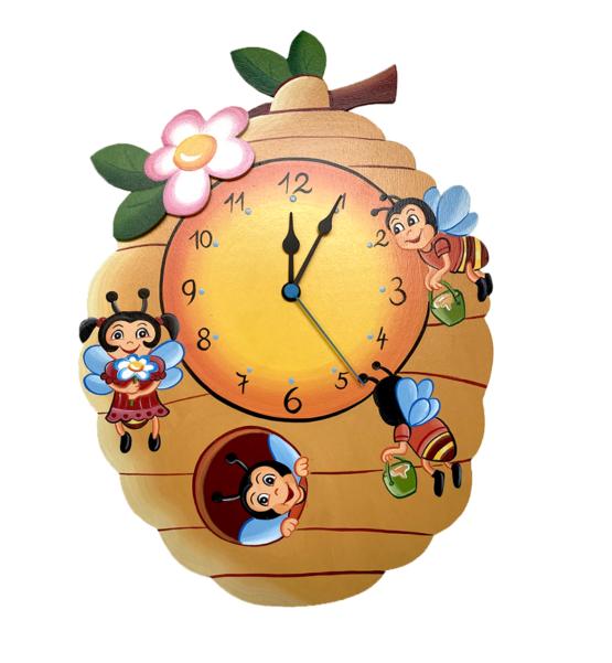 Tiko-dekorace | Dětské veselé dřevěné nástěnné hodiny včelí úl s tichým chodem, ručně malované, na jednu tužkovou baterii, česká kvalita a ruční práce.